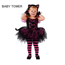 2017 Hot Halloween Costumes for baby girl tutu dress + Headdress Cheshire Cat girl Prom Animal Cosplay Apparel kids girl clothes(China)