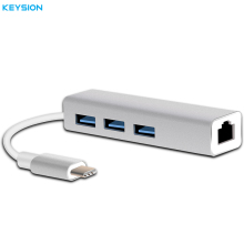 KEYSION USB 3.1 Type-C Hub to Multiple 3 USB 3.0 Converter with Ethernet Network LAN Adapter for MacBook Type-c Notebook