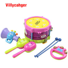 5pcs/set Musical Instruments Playing Set Colorful Educational Toys Drum / Handbell / Trumpet / Sand Hammer / Drum Sticks(China)