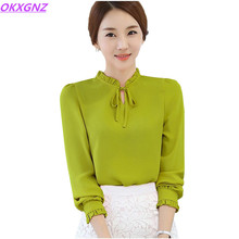 OKXGNZ Han Edition Chiffon Shirt Women Tops 2017 New Spring Summer Fashion Stand Collar Elegant Large Size Women's Blouses A088