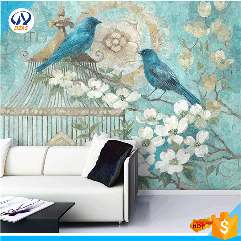 European hand-painted wallpaper living room TV background wall paper bedroom bird cage flowers large murals WH-Mural <br>