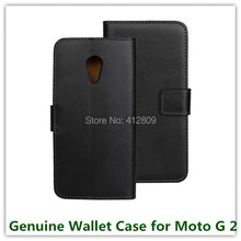 1PCS Fashion Back Genuine Leather Stand Pouch Folding Wallet Skin Cover Case for Motorola Moto G2 XT1069 with ID Card Holder(China)