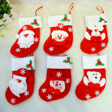 6Pcs/lot of  Merry Christmas Socks Christmas Decoration For Home Santa Claus Gift Christmas Ornaments Decoration, kids gift bag