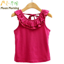 Moon Morning Kids Vest 3T~10T Cotton Ruffles New Knitted Summer Gilets Sun Thin Regular Chic Fashion Bow Solid Children Garment