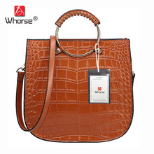 [WHORSE] Brand luxur Crocodile Designer Dandbags High Quality Genuine Leather Women Messenger Bag Handbag With Ring Handle W0825