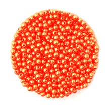 new fashion 4mm Dia. 1000pcs/lot Round Pearl Imitation Plastic Pearl Beads Orange for You to DIY jewelry BSG01-01ORR(China)