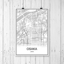 OSAKA Japan Famous World City Map Print Poster Abstract Coated Paper Bar Cafe Pub Living Room Home Decor Wall Sticker 42x30cm