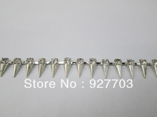 (CM558) 1yds Punk Rhinestone Crystal Silver Applique Dangle Fringe Chain Wedding Bridal Trim