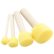 4pc/lot Yellow Sponge Brush Wooden Handle Coloring Pages For Children Graffiti Paint Tool DIY Doodle Toy