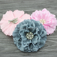 Hair bows silk fabric peony flower hair clip Brooch for girl or women Hair Accessories 120pcs/lot