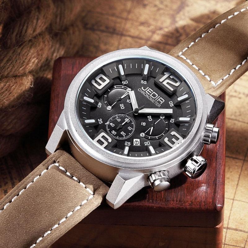 Luxury Brand JEDIR Watches Men Genuine Leather Watches Multifunction Quartz Watch 30M Waterproof Wristwatch Relogio Masculino<br>