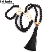 Free Shipping Fashion Black Lava Stones Bohemian Tribal Jewelry Long Black Tassel Necklace For Women(China)