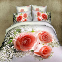 Home Textiles 100% Cotton 3D Bedclothes 4pcs Bedding Sets King Or Queen Orange Rose(China)