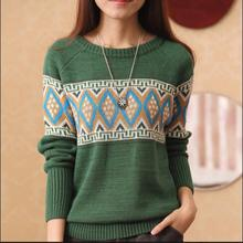 Korean Fashion Fall Clothes 2018 New Autumn Pullovers Women's Round Collar Long Sleeve Argyle Sweater Beige,Wine Red,Green E885(China)