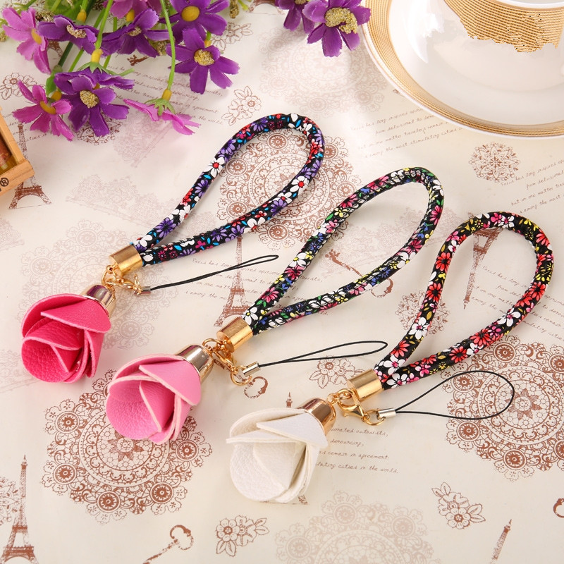 Beautiful Universal Flower Wrist Neck Strap Lanyard U Disk Holder ID Work Card Mobile Cell Phone Chain Straps Keychain Hang Rope(China (Mainland))