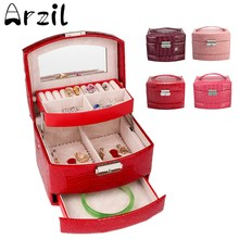 Makeup Jewelry Box Large Organizer Faux Leather Case with Mirror and Lock Two Layer Jewelry Organizer 160x130x115mm