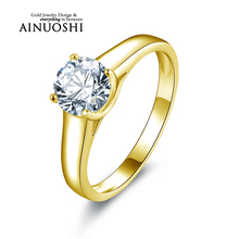 AINUOSHI 10k Solid Yellow Gold Wedding Ring Solitaire 1ct Simulated Diamond Joyeria Fina Band Trendy Women Anniversary Rings