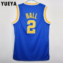 YUEYA Lonzo Ball #2 College Basketball Jersey Mens Cheap White and Blue S-3XL