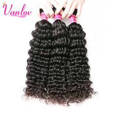 Vanlov Malaysian Deep Wave Bundles Human Hair Bundles Non Remy Malaysian Hair Extension Natural Color Can Buy 3 or 4 PCS(China)