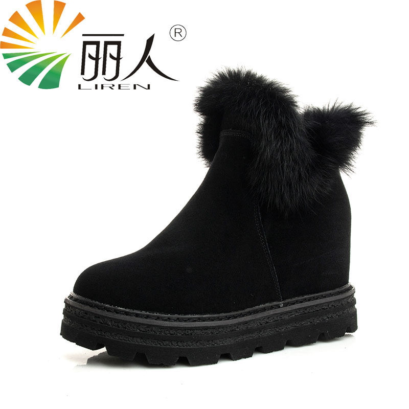 LIREN Top Quality Genuine Cowhide Leather Woman Snow Boots Fashion Platform Winter Boots 100% Natural Fur Warm Rabbit Women Boot<br>