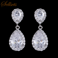 Sellsets Luxury Excellent Cut Cubic Zircon Drop Earrings CZ Crystal  Jewelry  Bridal Wedding  Earrings For Women