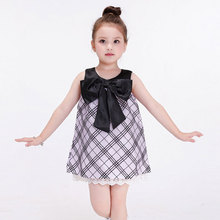 Girls Dresses Summer 2016 High Quality Plaid Baby Girls Frock Designs Dress With Bow Frocks For Girls Dresses Age 2 3 4 5 6 7