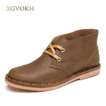 XGVOKH Men Classic Winter Leather Tooling Boots Crazy Horse Man Fashion Desert Boot Popular High Top Shoes Autumn Flats(China)