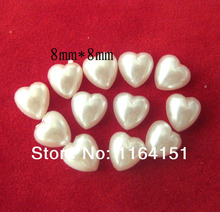 100pcs 8*8mm  Mini Semicircle Pearl Flat Back Buttons Heart Scrapbooking Products (pearl white) DIY Embellishment Craft Acessory