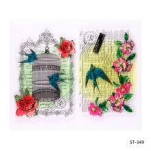 Bird and birdcage Transparent Clear Silicone Stamp/seal for DIY Scrapbooking/photo Album Decorative Clear Stamp Sheets