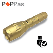 POPPAS Micro USB 1300LM CREE XML-T6 L2 Chips Flashlight GOLD LED Torch Zoomable Ultra Bright Handheld Water Resistant(China)