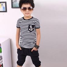 2016 NEW children clothing set anchor boys set baby sets short t shirt+pants 2 pcs set clothes kids suit 2-7Years Free shipping