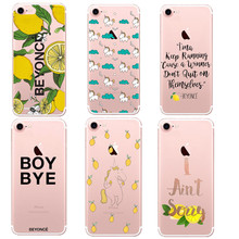 Super star Beyonce Lemonade Boy Bye Ultra Thin Soft Tpu Phone Case Coque For Iphone 7 7Plus 5 5S SE 6 6s Plus Rubber Funda Cover
