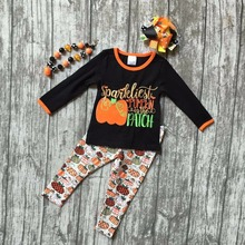 Fall Halloween baby grils clothes pumpkin in the patch cotton suit boutique clothing ruffles pant long sets with match accessory