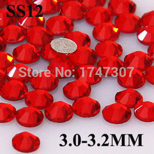 Wholesale Price 1440pcs Nail art crystal red Common Size,SS12 no hotfix flatback rhinestone DIY nail Glass stones dress art(China)
