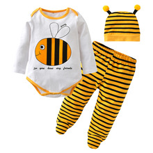 2017 Fashion Baby Boy Clothes Newborn Baby Girl Clothing Set Long Sleeve Cartoon Bee Style Romper+Pants+Cap Toddler Kids Outfits(China)