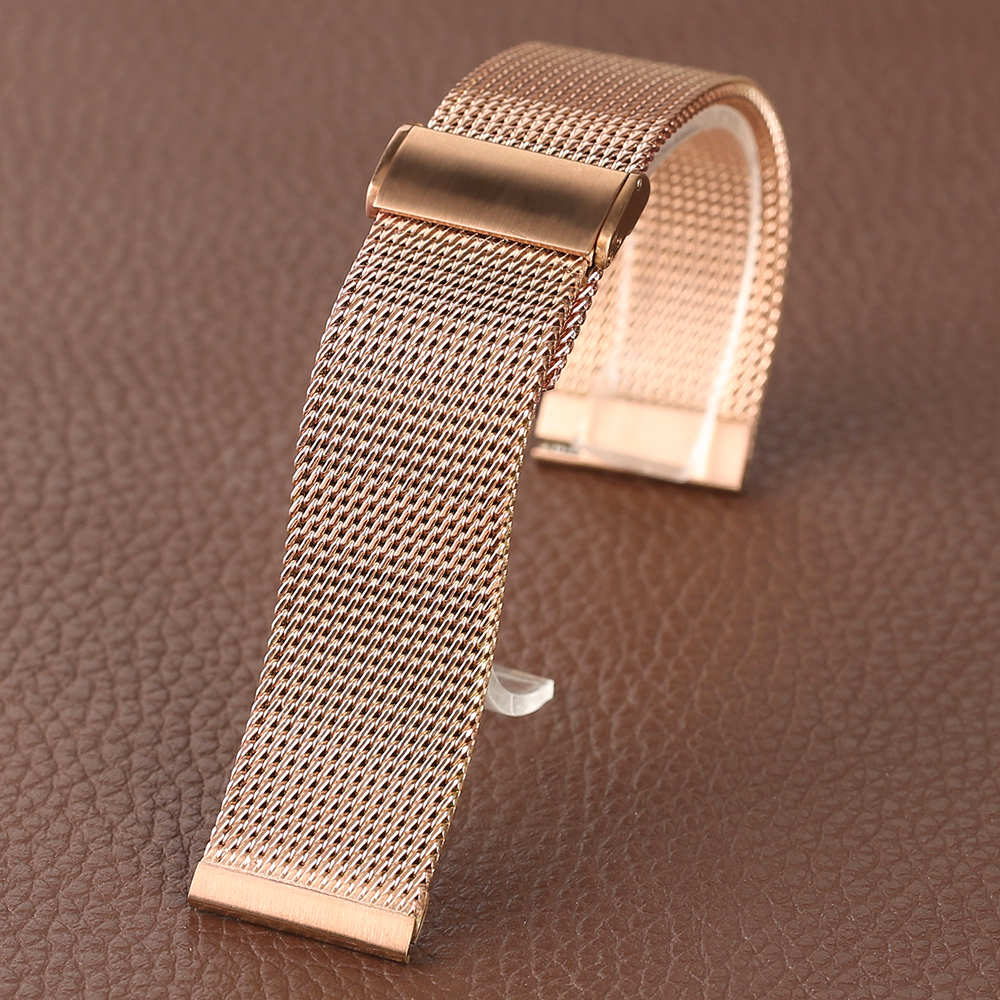 Rose Golden Stainless Steel Watch Band 2018 New Arrival 182022mm Women Men Wrist Band for HuaWei (7)