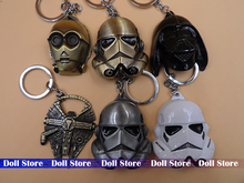 6pcs/lot 5.5CM-6.5CM alloy star war Spacecraft Warship/StormTrooper Helmet Storm Trooper/ Vader Mask action figure keychain