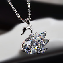 2016 American Jewelry Zircon Crystal Necklace Pendant New Swan Sweater Chain