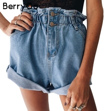 BerryGo Casual blue hemming denim shorts Women button summer beach black jeans shorts Female 2017 pocket high waist shorts(China)