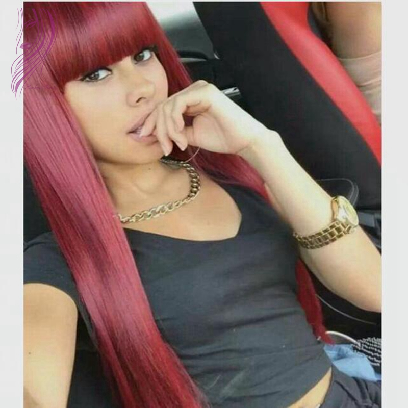 Top quality red synthetic lace front wigs with full bangs 24inch silky straight heat resistant synthetic wigs for black women<br><br>Aliexpress