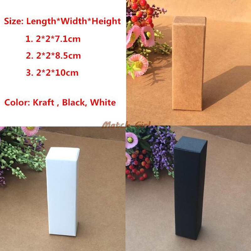 100pcs/lot- 2*2*7.1cm,2*2*8.5cm,2*2*10cm Black White Kraft Paper Box For Lipstick Essential Oil Perfume Sprays Sample Boxes(China)