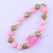 Free Shipping Fashion Kids Handmade Beads Jewelry Gold Pink Flower Necklaces Jewelry Manufacturer For Amazon Ebay CDNL-410675