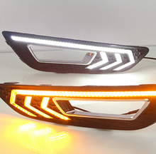 Car Flashing for Ford focus 4 2015 2016 LED DRL daytime running lights daylight with fog lamp hole  Yellow turn signal