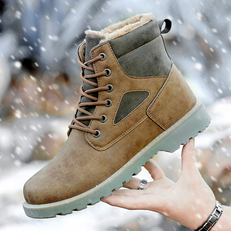 Winter Unisex Casual Martin Boots Men Fashion Breathable Ankle Work Boots Female Non-Slip Leisure Pu Leather Couples Chaussures<br>