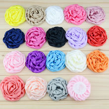 18pcs/lot 7.5cm 18colors Satin Rolled Rosette Rose Handmade Flower for Hair Ornaments Garments DIY Hair Accessories(China)