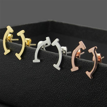 Double T Smile Earrings Curved Titanium Steel Curved Rose Gold Color Stud Earrings for Women Fashion Jewelry Drop Shipping(China)