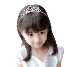 Valentine's Day Crystal Tiara Hairband Kid Girl Bridal Princess Prom Crown Party Accessiories Princess Prom Crown Headband(China)