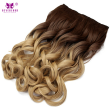 "Neverland 24"" 60cm Synthetic Wavy Hair Women Hairpieces Ombre Dip-dye 5Clips One Piece Clip in Hair Extensions Cosplay Wigs"