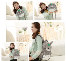 SIZE 35*28CM FOR 4-10Year Kids Plush Backpack , Kawaii TOTORO Plush Children Girl's Plush Backpack Shoulder Pack BAG(China)