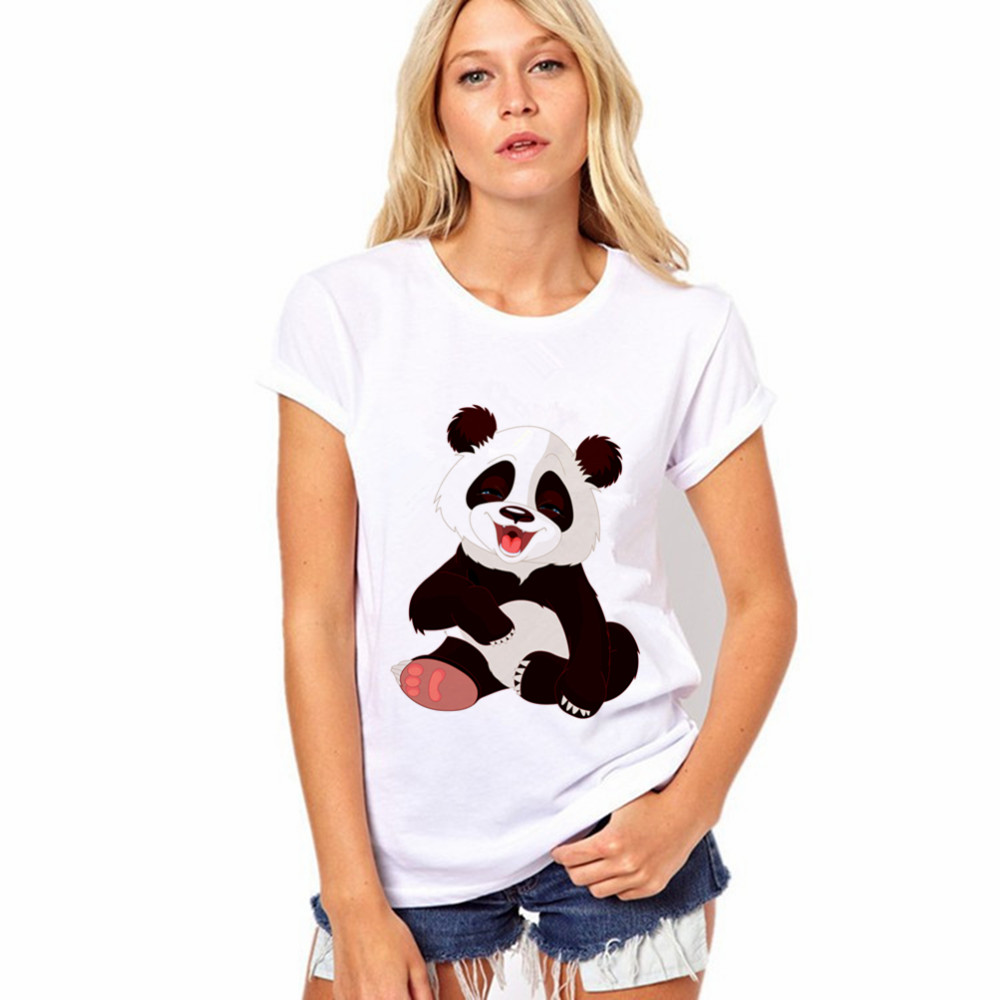 CDJLFH 2017 Selling Fashion Round Collar T Shirt Print Finger Adorable Panda Cute T-Shirt Women Summer Clothes Casual(China (Mainland))